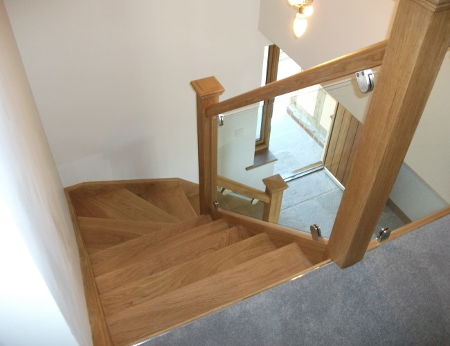 Oak With Glass Balustrade